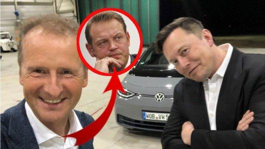 VW-Chef Herbert Diess und Tesla-Boss Elon Musk verstehen sich gut – doch ER grätscht jetzt dazwischen.
