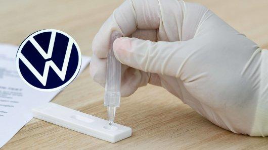 VW startet mit Corona-Selbsttests. Schon am ersten Tag folgt die Offenbarung. (Symbolbild/Montage)