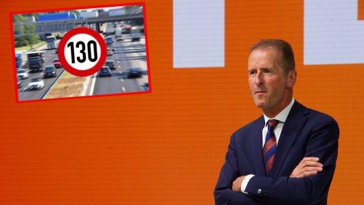 VW-Chef Herbert Diess hat eine klare Meinung zu einem möglichen Tempolimit in Deutschland.