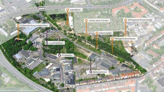 """Diese Übersicht zeigt das Projekt """"Stationen am Ringgleis – Neue Begegnungen am Westbahnhof""""."""