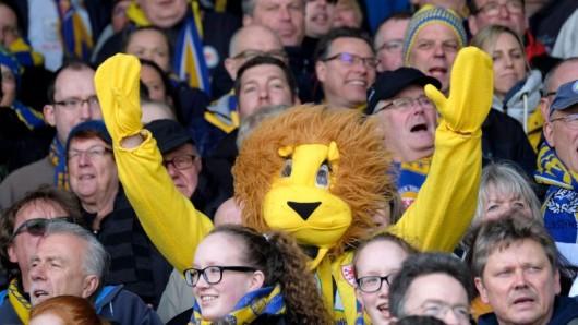 In einem Löwen Kostüm sitzt ein Braunschweiger Fan in der Tribüne.