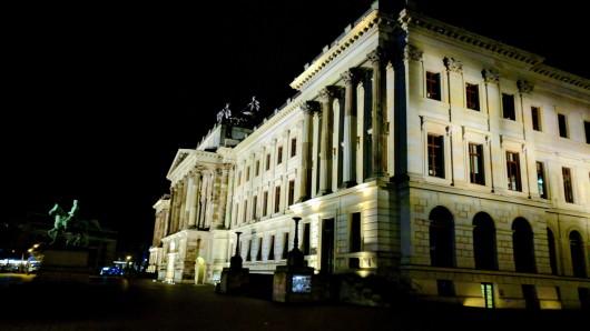 Das Braunschweiger Schloss im Dunkeln. Bei der Erlebnisführung lassen sich weitere historische Gebäude entdecken. (Archivbild)