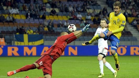 Vor seiner Verletzung stand Christoffer Nyman regelmäßig im Schweden-Kader – wie hier im Spiel gegen Weißrussland im September.