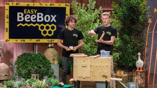 Die Bienenbox für den Hausgebrauch soll aktiv zum Artenschutz etwas beitragen. Jan-Angelus Meyer (re.) und Nick Peters stellen sie vor.
