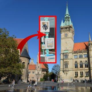 In Braunschweig stehen zukünftig an ausgewählten Standorten bunte Stelen. Was dahinter steckt, erfährst du hier. (Montage)