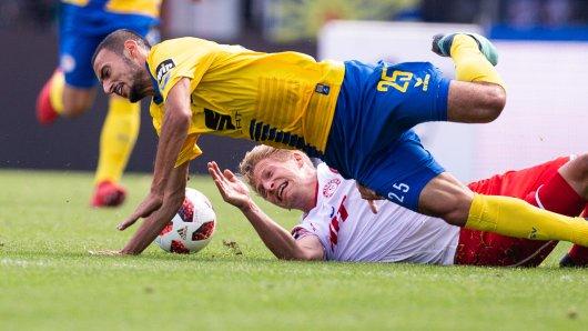 Eintracht Braunschweigs Onur Bulut zeigte im Hinspiel gegen Fortuna Köln vollen Einsatz – und der tat offenbar weh. Am Samstag fällt er aus. (Archivbild)