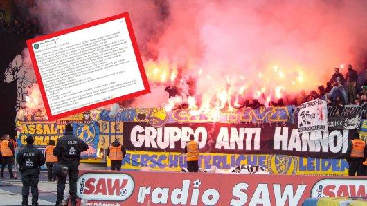 Beim Derby gegen Hannover zeigten Fans von Eintracht Braunschweig ein Plakat, das der Polizei nicht allzu gut gefiel.