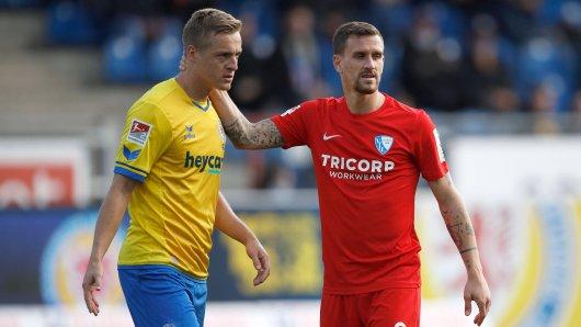 Felix Kroos (Eintracht Braunschweig) und Simon Zoller (VfL Bochum) – wer hat am Sonntag etwas zu lachen? (Archivbild)