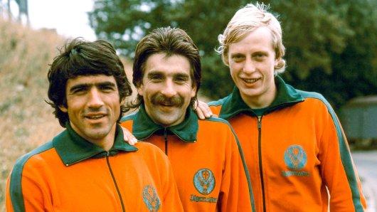 Danilo Popivoda, Bernd Gersdorf und Norbert Stolzenburg in der Saison 1976/1977.