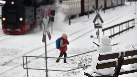 Über Nacht hatte es in den höheren Lagen des Harz mehrere Zentimeter geschneit.