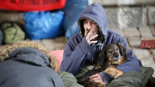 Ein Obdachloser sitzt bei Temperaturen um den Gefrierpunkt mit seinem Hund zwischen Decken und Matratzen unter einer Brücke. (Archivbild)