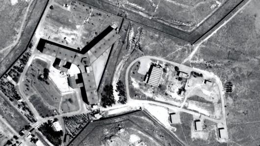 Das Mitärgefängnis Saidnaja auf einer undatierten Illustration, 30km nördlich von Damaskus, Syrien.