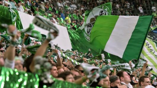 Wolfsburgs Fans feuern ihre Mannschaft an.