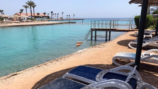 Der Strand vor dem Hotel El Palacio in Hurghada. Hier kam es vor knapp zwei Jahren zum Attentat.
