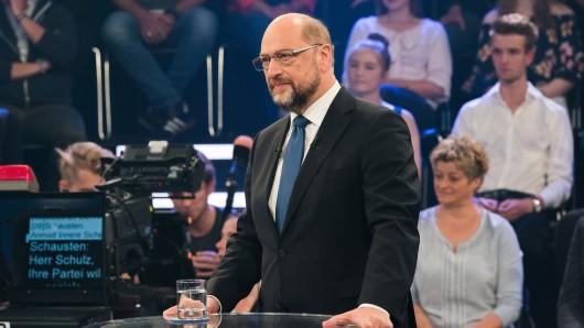Der SPD-Kanzlerkandidat und SPD-Vorsitzende Martin Schulz während der Sendung Klartext, Herr Schulz! im Hauptstadtstudio des ZDFin Berlin.