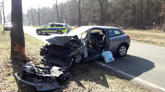 Bei Celle kam ein Volvo-Fahrer von der Straße ab und prallte gegen einen Baum.