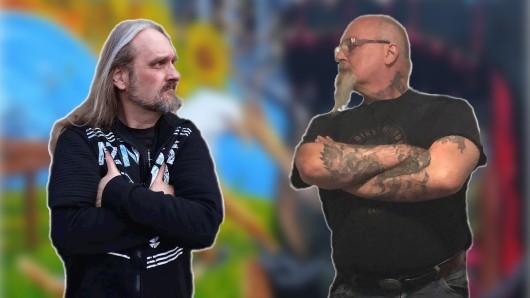 Mike Hoppe (rechts) und Jörg Wollenberg duellieren sich an der Leinwand.