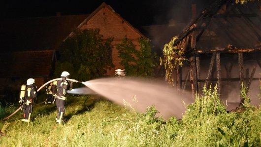 Einsatzkräfte der Feuerwehr löschen einen Brand in Wedelheine.