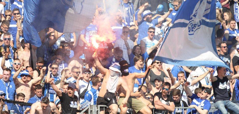 Ultras des 1. FC Magdeburg in Block U (Archivbild).