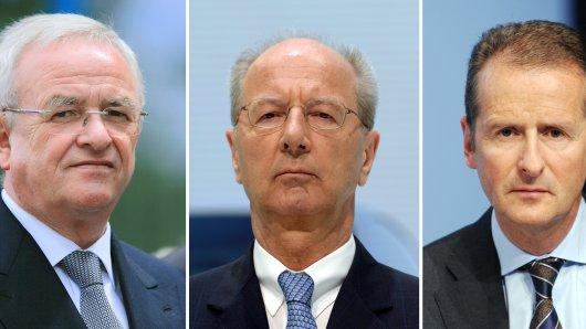 Ex-VW-Chef Martin Winterkorn, Aufsichtsratschef  Hans Dieter Pötsch und der jetzige VW-Chef Herbert Diess. (Archivbilder)
