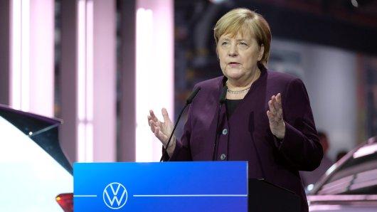Bundeskanzlerin Angela Merkel (CDU) spricht im VW-Werk bei einem Festakt zum Produktionsstart des Elektroautos ID3.