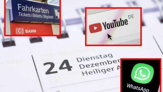 Im Dezember ändert sich einiges. Davon betroffen sind unter anderem Whatsapp, die Deutsche Bahn und Youtube.