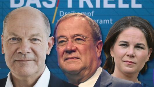 Triell auf ARD und ZDF mit Olaf Scholz, Armin Laschet und Annalena Baerbock.