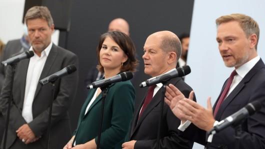 Erfolgreiche Ampel-Sondierung: Die Pressekonferenz am Freitag.