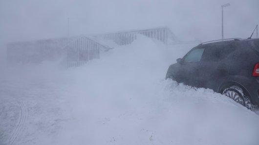 Schwerer Schneesturm am Donnerstag auf dem Brocken.