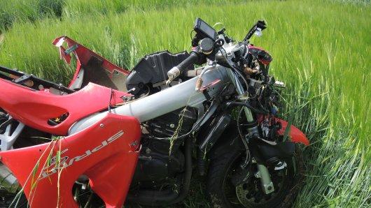 Die Maschine des jungen Braunschweigers war nach dem schweren Unfall im Harz nicht mehr fahrbereit.