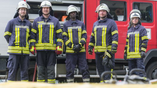 Die Freiwillige Feuerwehr Flechtorf: Von links nach rechts: André Steinhopf, Ralf Sprang, Jalal Daoud , Sascha Bluhm und Jenny Krul
