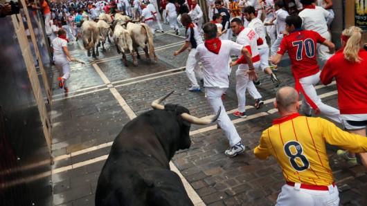 Bei den Stierrennen im spanischen Pamplona werden immer wieder Menschen verletzt. Für die meisten Stiere enden die Renntage indes tödlich.