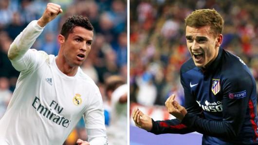 Morgen kommt es zum Duell der Superstars: Ronaldo (links) und Griezmann