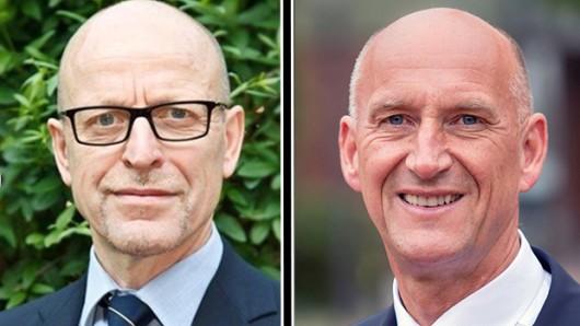 Die beiden amtierenden Verwaltungschefs:  Der Erste Kreisrat Hans Werner Schlichting (Helmstedt, l.) und Landrat Franz Einhaus (Peine).