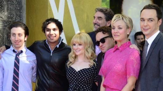 Die Big Bang Theorie-Crew:  Simon Helberg (von links), Melissa Rauch, Johnny Galecki, Kaley Cuoco, Jim Parsons und Kunal Nayyar.