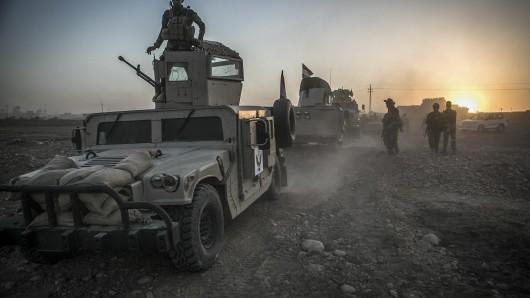 Pershmerga-Kämpfer am 14. August auf dem Weg zu ihrer Militäroperation in Mossul