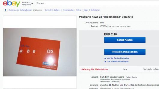 Die ebay-Anzeige mit der #ich bin heiss-Werbung für news38.de