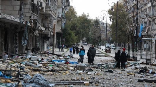 Zerstörte Straßenzüge einer einst pulsierenden Millionenmetropole: Der Ostteil von Aleppo.