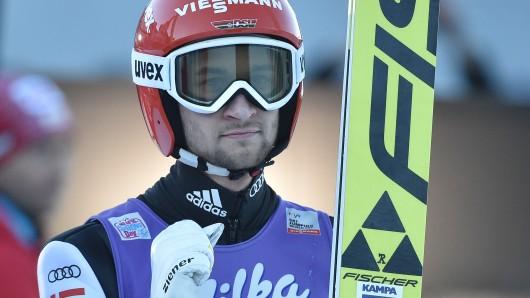 Neujahrsspringen am 1. Januar 2017 in Garmisch-Partenkirchen. Der deutsche Skispringer Markus Eisenbichler freut sich über seinen ersten Wertungssprung.