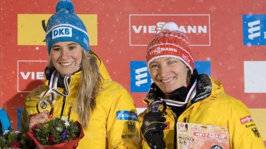 Natalie Geisenberger (links) und Tatjna Huefner aus Deutschland beim Rodel-Weltcup. Königssee