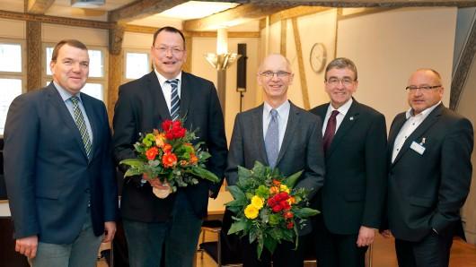 Klinikum-Geschäftsführer Axel Burghardt, Dr. Thomas Hockertz (stellvertretender Ärztlicher Direktor), Professor Dr. Dirk Hausmann (Ärztlicher Direktor), Bürgermeister Thomas Pink und Pflegedirektor Ralf Harmel (von links).