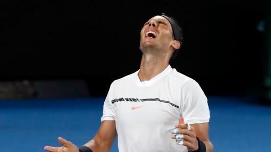 Rafael Nadal aus Spanien jubelt nach seinem Sieg im Spiel gegen Dimitrow aus Bulgarien.