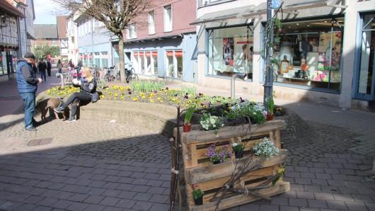 Wolfenbüttels Fußgängerzone putzt sich heraus: Alles war mit frühlingshaftem Blumenschmuck dekoriert.