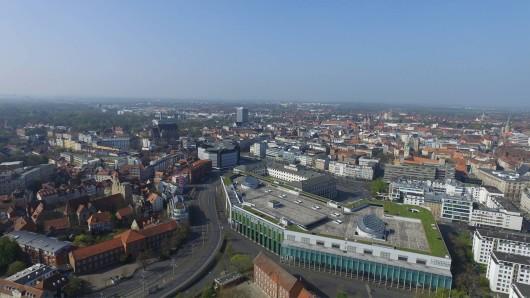 Blick auf Braunschweig und die Schloss Arkaden