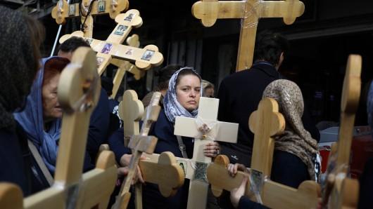Christliche Pilger bei der Karfreitags-Prozession in Jerusalem