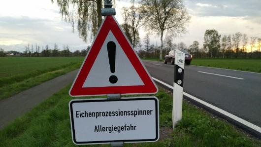 Mit diesen Schildern wird vor den giftigen Raupen gewarnt (Archivbild).