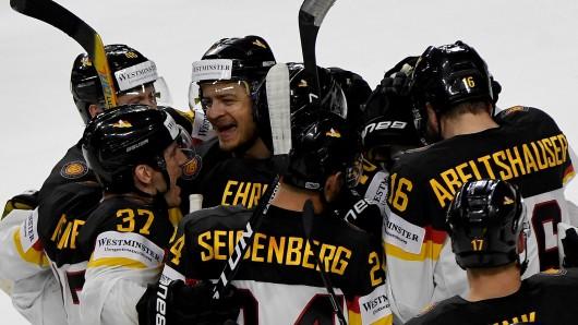 Jubel bei den deutschen Spielern nach ihrem hart erkämpften Sieg.
