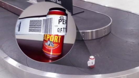 Die Dose überstand einen Flug von Melbourne nach Perth.