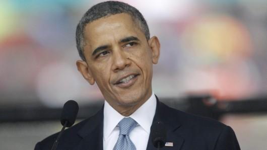 Der damalige US-Präsident Obama bei der offiziellen Gedenkfeier für Nelson Mandela.