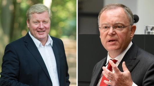 Die Spitzenkandidaten von CDU und SPD bei der Landtagswahl am 15. Oktober: Bernd Althusmann (CDU, l.) und Ministerpräsident Stephan Weil (SPD).